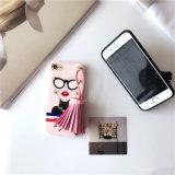 Случай мобильного телефона стороны девушки типа способа европейский с шерстью Tassel и диаманты на iPhone 6/7