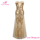 Платье выпускного вечера вечера без бретелек Sequined Shining мантии Gatsby золота большой длиннее