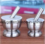 Pilão do almofariz do dispositivo do alho do moedor da especiaria do aço inoxidável para a cozinha