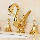 Faucet de bronze chapeado dourado da bacia do banheiro de Soild