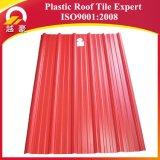 Telha de telhado plástica de pouco peso do PVC da cor vermelha