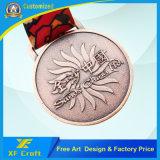 Médaille 2D/3D plaquée de cuivre en alliage de zinc personnalisée par professionnel avec la bande