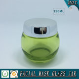 120ml vacian el tarro facial coloreado verde del vidrio de la máscara