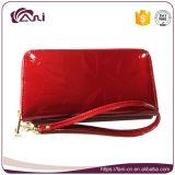 Raccoglitore lungo rosso delle donne del cuoio genuino del nuovo prodotto con la cinghia di manopola, borsa di cuoio del raccoglitore delle donne