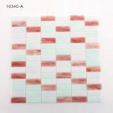 Mattonelle di mosaico di vetro tagliate mano della cucina di rettangolo rosso e bianco