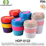 De aangepaste Dubbele Mok van de Koffie van de Muur Plastic met de Band van het Silicone (hdp-0122)