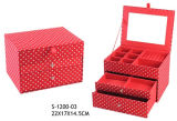 Милая коробка ювелирных изделий ткани МНОГОТОЧИЯ пинка конструкции