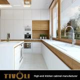 木製のベニヤの混合の白い絵画光沢度の高い仕上げの食器棚Tivo-0007V