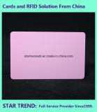 Cartão cor-de-rosa plástico em branco de Cr80/30mil para o estoque do varejista