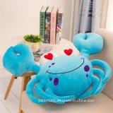 詰められたカニの整形プラシ天のおもちゃの青の枕