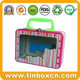 Коробка олова обеда металла с ручкой для малышей, контейнером олова подарка