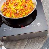 Appareil de cuisine électrique 2017 Verre coloré 1800W ETL 120V 60Hz Capteur de boîtier en acier inoxydable Cuisinière à induction à contrôle tactile Table de cuisson