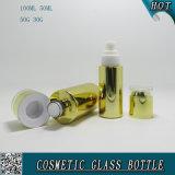 La couleur d'or plaquent les bouteilles en verre cosmétiques et les chocs en verre cosmétiques