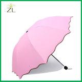 Paraguas ULTRAVIOLETA de la protección del mini de la lluvia 3 del manual de las señoras/de las muchachas lápiz promocional estupendo abierto del doblez