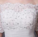 2016 fora vestido de casamento do vestido de esfera das luvas do ombro do meio com Applique do Sequin