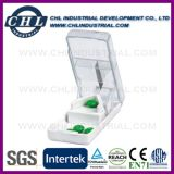 Logo Customzied píldora plástico transparente caja de distribución con llavero