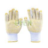 Перчатки Kintted естественного белого хлопка работая покрыли с многоточиями PVC на Plam