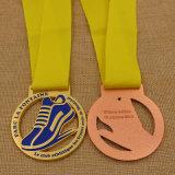 싸게 리본을%s 가진 금속 마라톤 인종 금 은 동메달을 예약했다