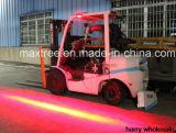 フォークリフトの薄赤のゾーンの安全燈