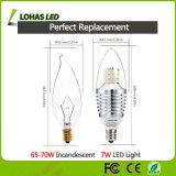 Bombilla de ahorro de energía E12 6W 7W LED de la vela de los candelabros