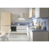 ホーム小さい台所白く、木製の穀物のラッカー食器棚