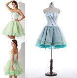 A - linha/vestido baile de finalistas da princesa Querido Garganta Joelho-Comprimento Chiffon com perolização