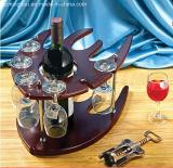 Het aquatische Dierlijke Rek van de Fles van het Rek van het Glas van de Wijn van de Vorm Houten