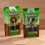 주문을 받아서 만들어진 애완 동물 먹이는 개밥 포장 부대를 자루에 넣는다