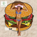 Hot Sale Hamburger Pizza Impresso Cartoon Beach Towel Beach Mat