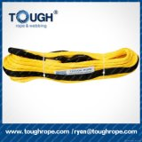 노란 색깔 UHMWPE 새로운 물자 Dyneema 섬유 땋는 윈치 밧줄