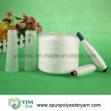 Hilados de polyester blancos brillantes en el tubo teñido