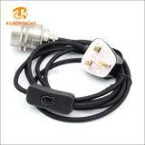 Cordon-connecteur BRITANNIQUE de tissu de fiche avec la douille de lampe