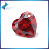 Red Heart CZ Gems Beads With Hole
