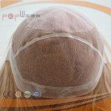 Peluca rubia atada mano completa incluida PU de la tapa de la piel del cordón del borde de la frontera