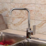 Zeitgenössisches Single Handle Brass Kitchen Faucet mit Chrome