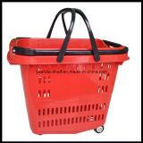 Panier à provisions en plastique flexible de supermarché de chariot à roue de Yuada Zc-14