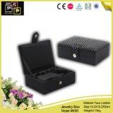Caixa de jóia de couro preta luxuosa (8093)
