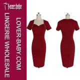 Robe occasionnelle de crayon d'usager d'été rouge de femme (L36118-1)