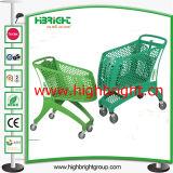 Alle Plastikeinkaufen-Laufkatze-Karre mit Plastikgriff und Füßen