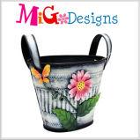 Stampa viola con la piantatrice rotonda del fiore del metallo di modo dei fiori