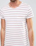 T-shirt rayé de modèle de Mens neuf fait sur commande de coton