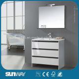 Heet verkoop het Witte Enige Gootsteen Gebogen Kabinet van de Badkamers met Spiegel