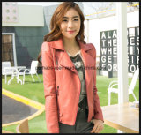 Fashion Slim Women Skinny Lapel Coat Veste en cuir PU en cuir