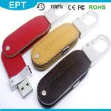 Lecteur flash USB en cuir tournant d'Emoboss de trousseau de clés d'émerillon (TL013)