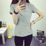 여자의 모조 다이아몬드 면 t-셔츠를 인쇄하는 새로운 디자인 간결 소매 자수