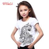 T-shirt 2016 branco do algodão da O-Garganta da impressão de Suumer para a menina