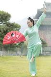 道教の服装を示す居心地のよいリラックスしたWudang Taiのキーの女性のパフォーマンス