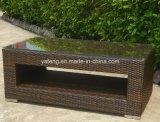 El mimbre sintetizado plano de la rota del PE de los muebles al aire libre del jardín relaja el sofá fijado con la silla 3-Seat&Club (YT253)