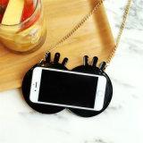 Caja negra del teléfono del silicón del globo del ojo de los ojos grandes con el encadenamiento de la cuerda para el iPhone 6 6splus 7 7plus (XSF-069)
