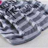 Esequins 자수를 인쇄하는 여자의 여름 Raglan 소매는 면 t-셔츠를 줄무늬로 한다